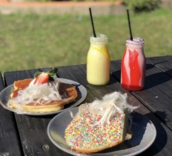 Kids pancakes and fairy bread